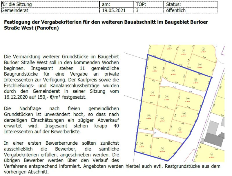 Beschlussvorlage Vergabekriterien Burloer Str. West / Panofen