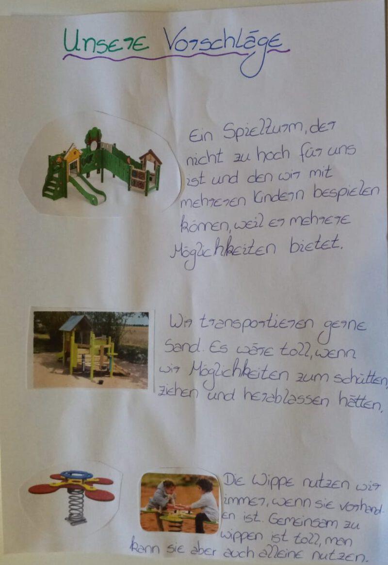 eingereichte Vorschläge Spielplatz Scharperloh